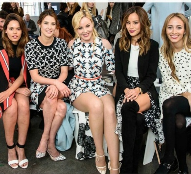 Center of image: Model-Cobie Smulders, Abbie Cornish- the band Dusk and actress/blogger- Jamie Chung